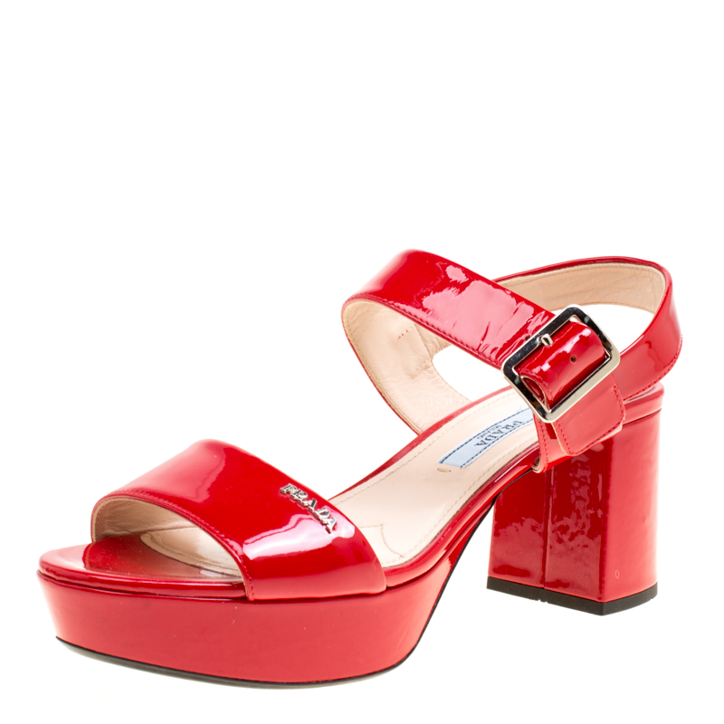 875b28be Prada Red Patent Leather Ankle Strap Block Heel Sandals Size 35