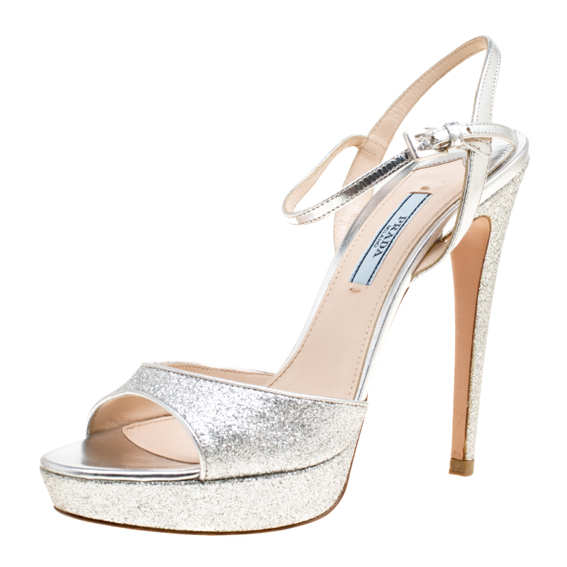 de17b2dd642 ... Prada Silver Glitter and Leather Ankle Strap Platform Sandals Size 37.  nextprev. prevnext