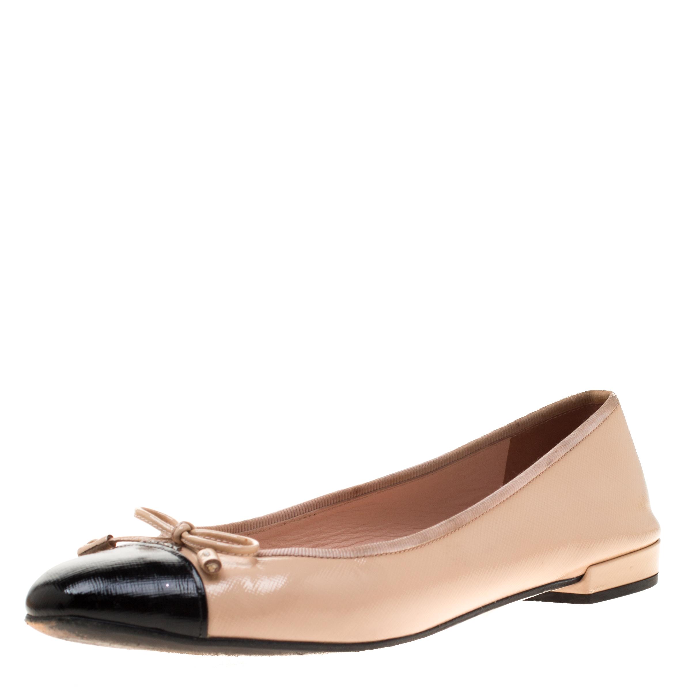 f0e2dd4c6 ... Prada Beige/Black Patent Leather Cap Toe Ballet Flats Size 38.  nextprev. prevnext
