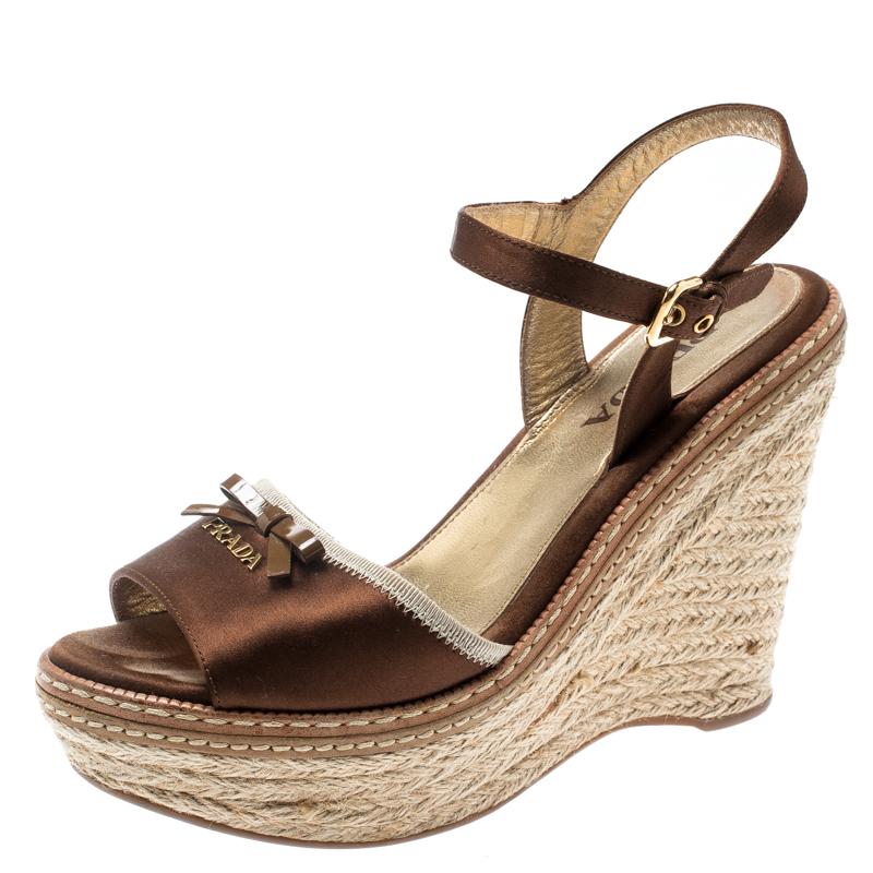 fcaef5ba045 Prada Dark Brown Wedge Espadrille Bow Ankle Strap Sandals Size 36.5