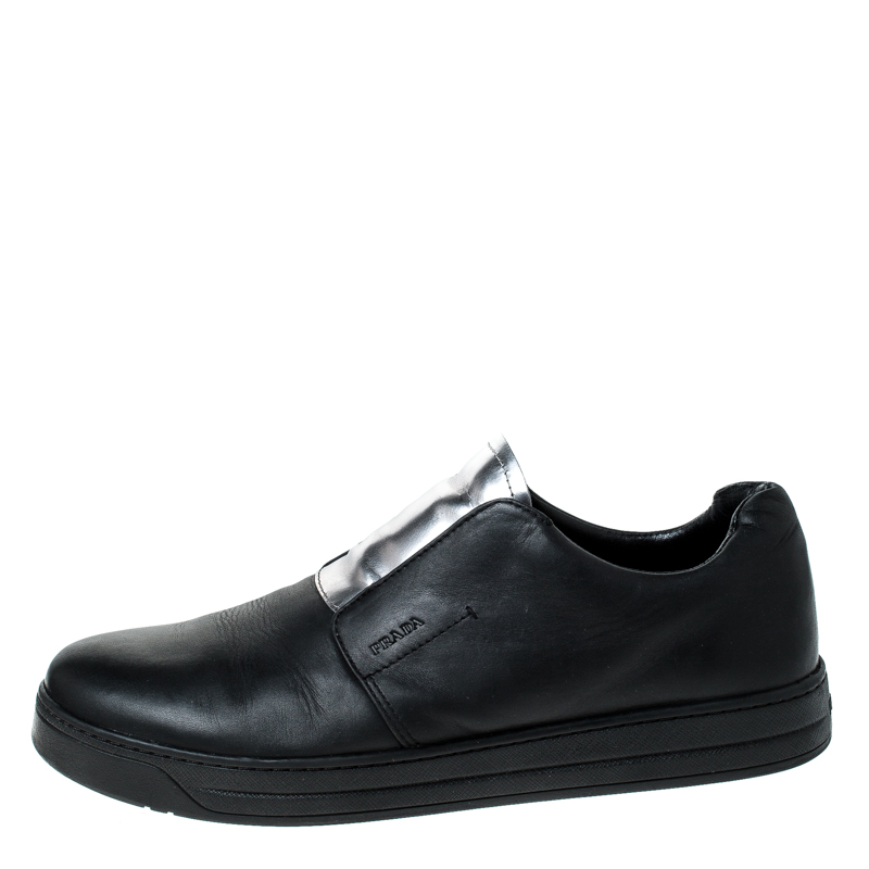 many styles shop for luxury customers first Prada Black/Silver Leather Slip On Sneakers Size 39.5