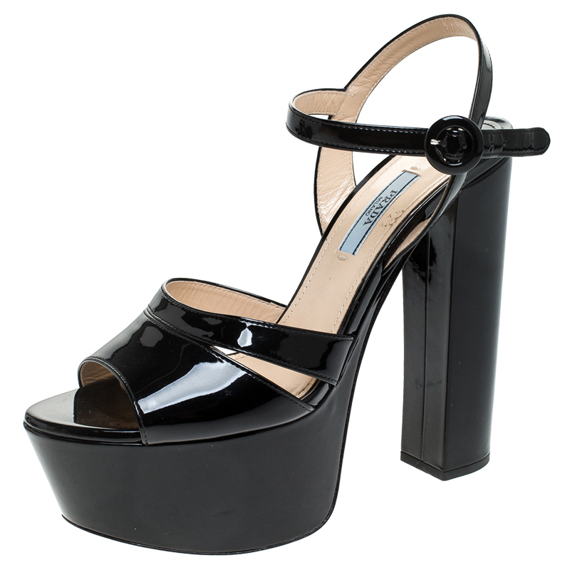 Prada Black Patent Leather Ankle Strap