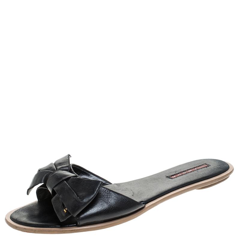 Prada Black Leather Bow Flat Slides Size 39