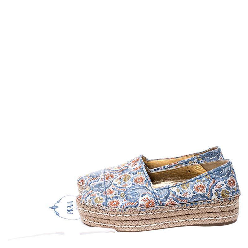Prada Multicolor Floral Embroidered Canvas Platform Espadrille Flats Size 39