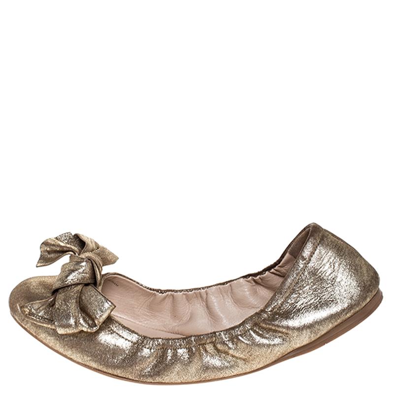 Prada Metallic Gold Leather Bow Logo