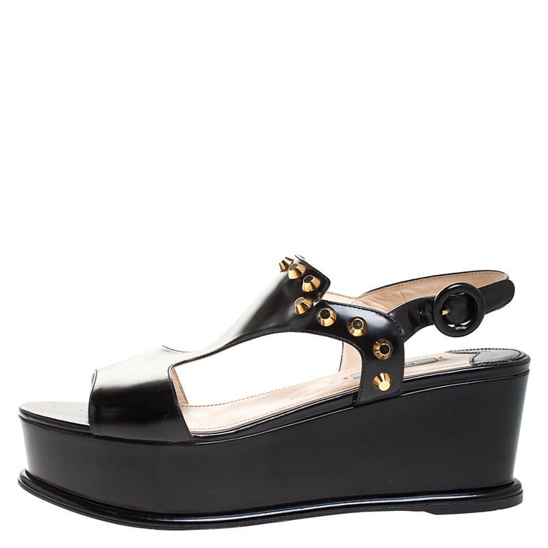 Prada Black Leather T-Strap Wedge Platform Studded Slingback Sandals Size 40