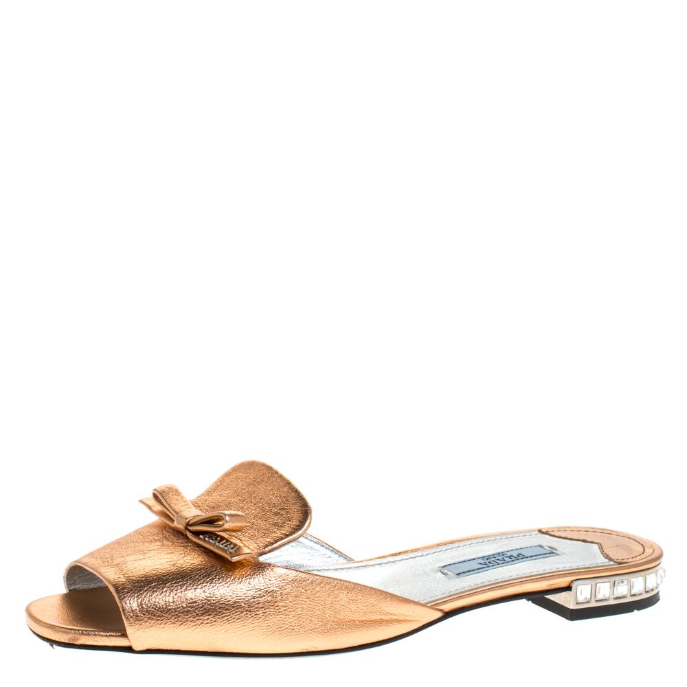 Prada Metallic Bronze Leather Studded Bow Open Toe Flat Slides Size 37