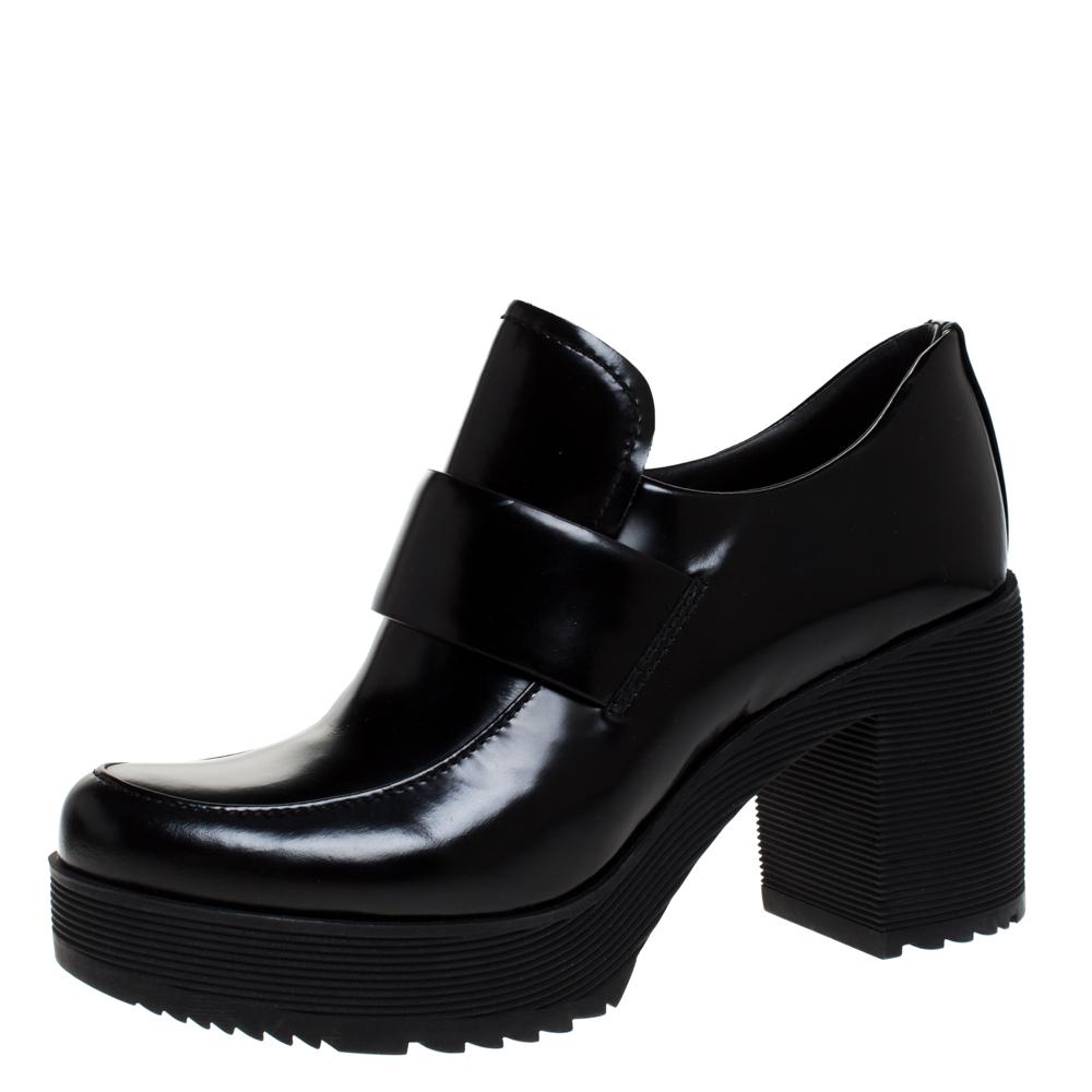 Prada Black Leather Block Heel Platform Loafer Pumps Size 37.5