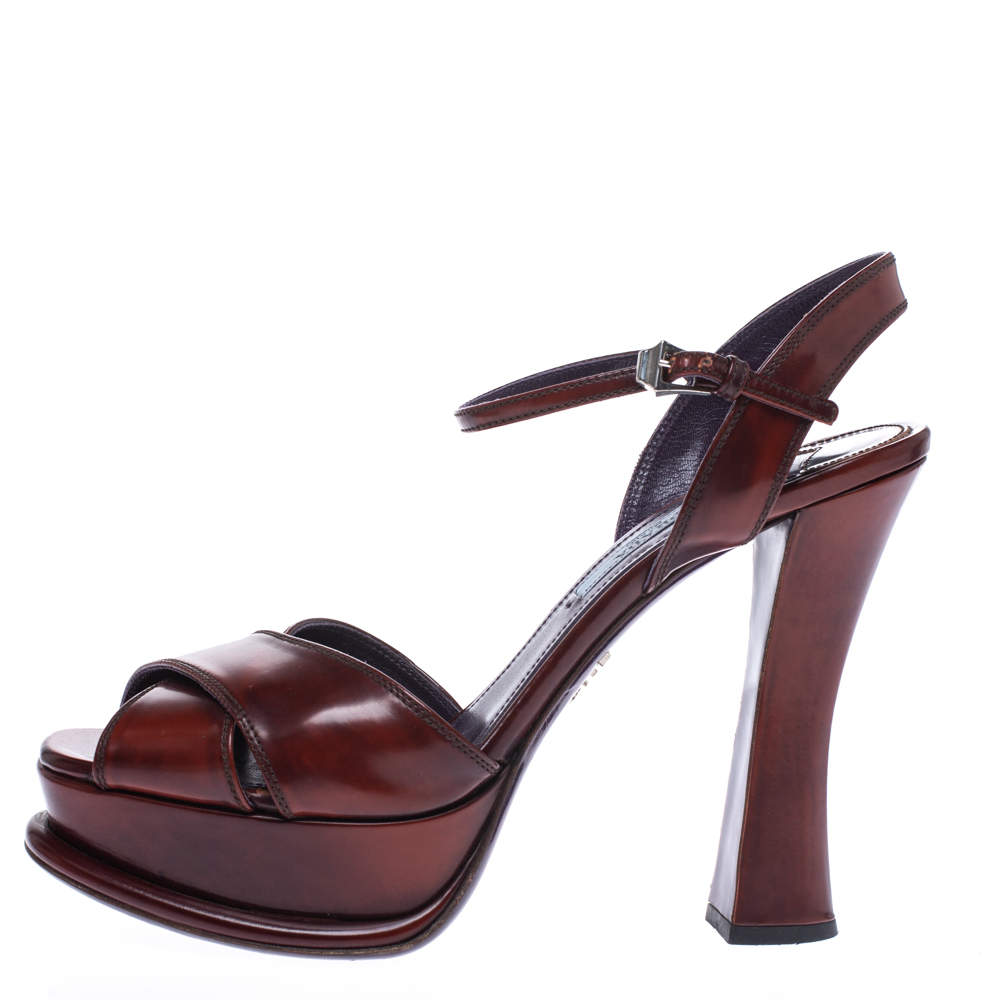 Prada Brown Leather Cross Strap Open Toe Platform Ankle Strap Sandals Size 38  - buy with discount