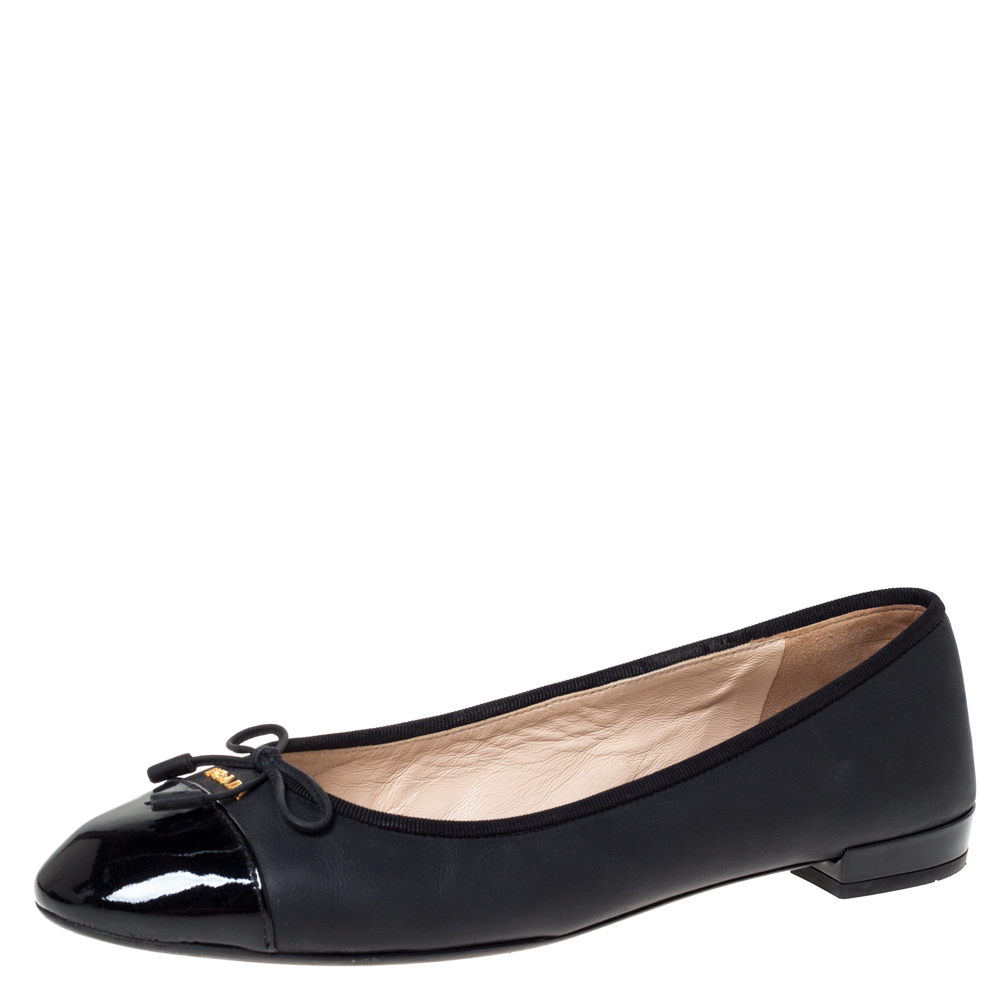 Prada Black Leather Bow Ballet Flats