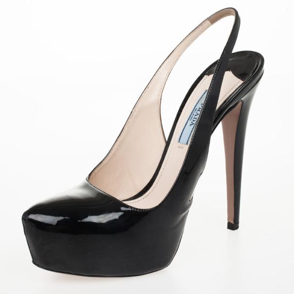 Prada Black Patent Leather Platform Slingback Sandals Size 37.5