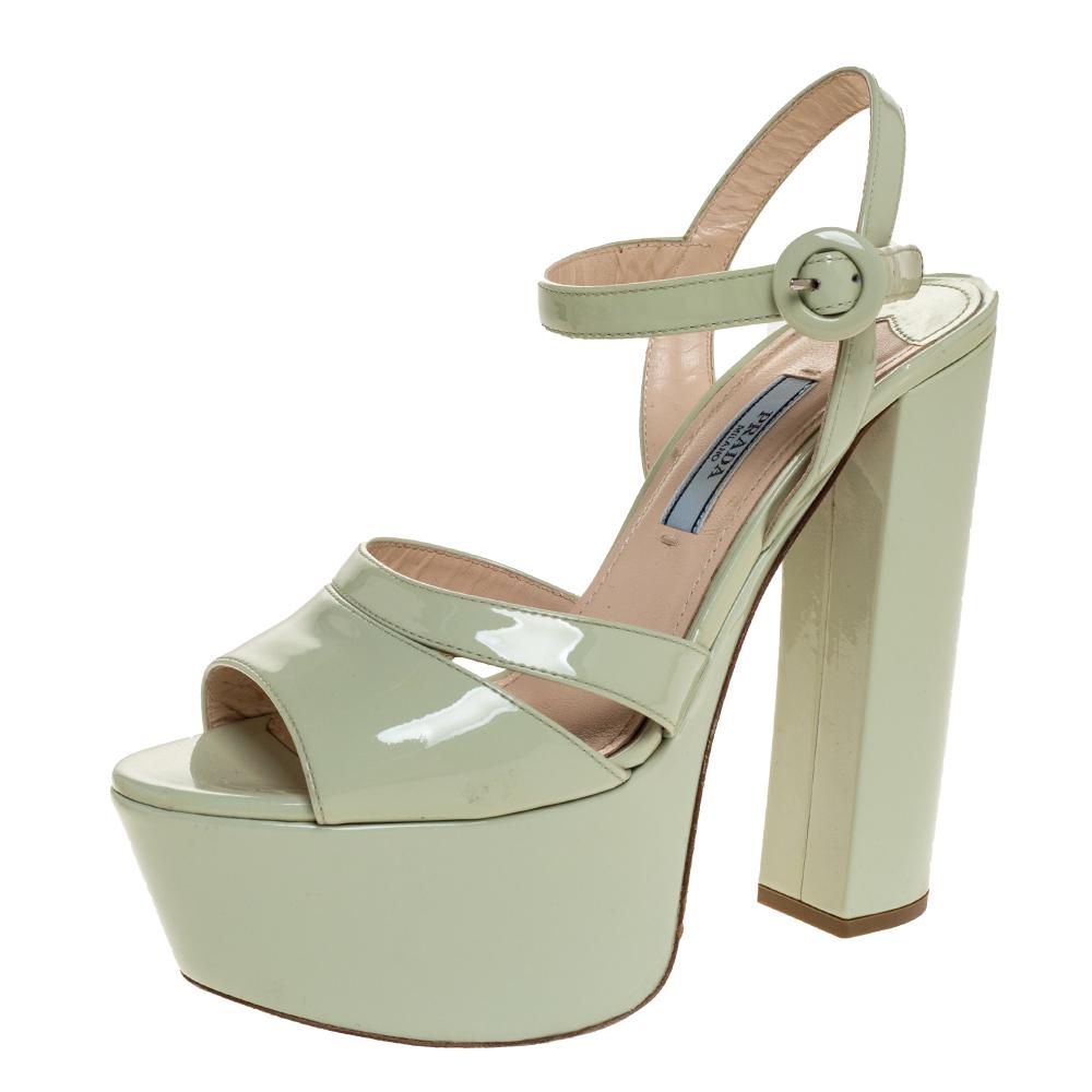 Prada Pale Green Patent Leather Ankle Strap Block Heel Platform Sandals Size 36