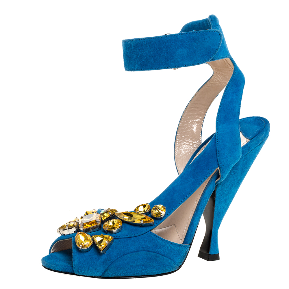 Pre-owned Prada Blue Crystal Embellished Suede Leather Ankle Cuff Sandals Size 38.5