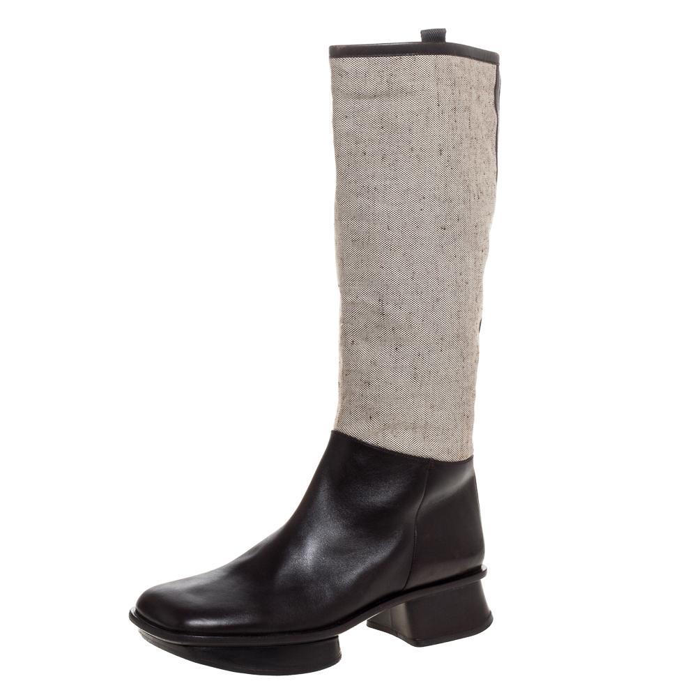 Prada Brown Leather And Beige Canvas Knee High Platform Block Heel Boots Size 40