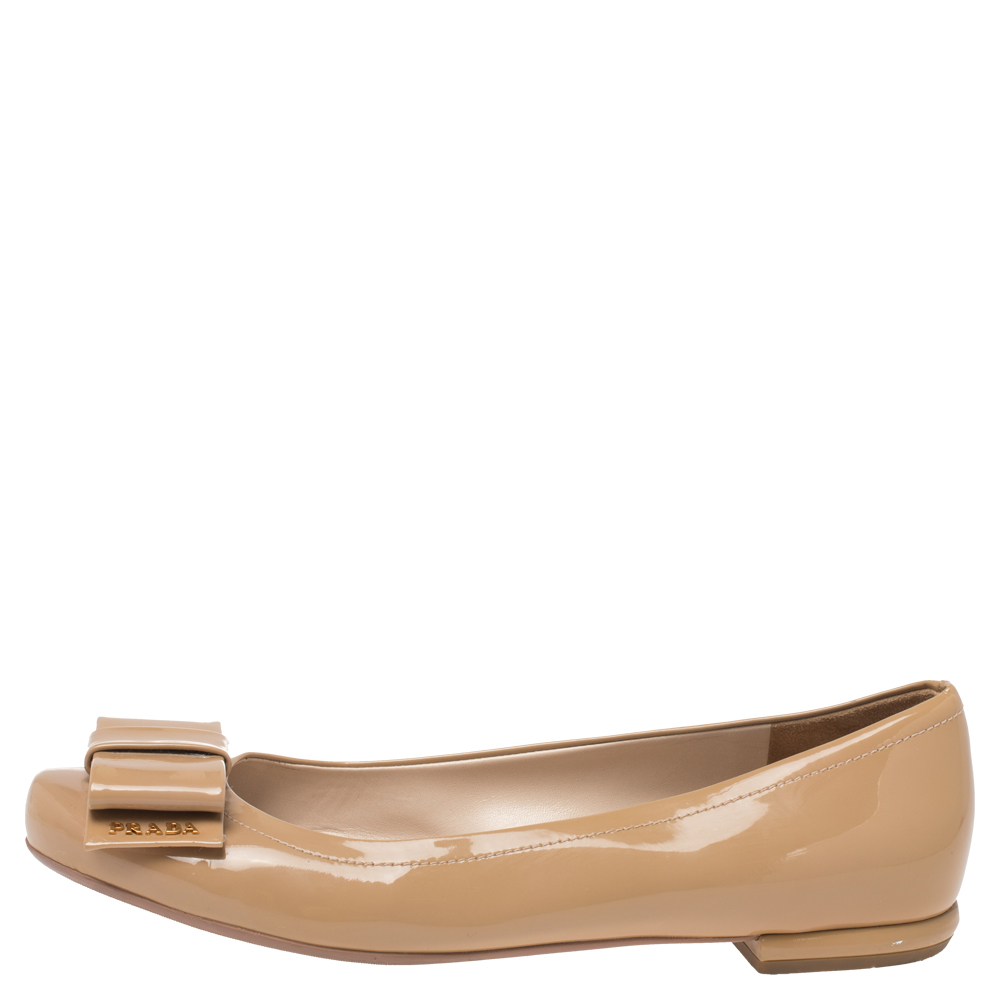 Prada Beige Patent Leather Bow Ballet Flats Size