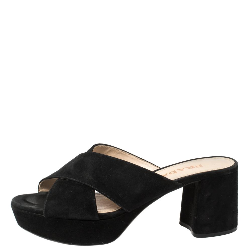 Prada Black Suede Criss Cross Platform Sandals Size 36  - buy with discount