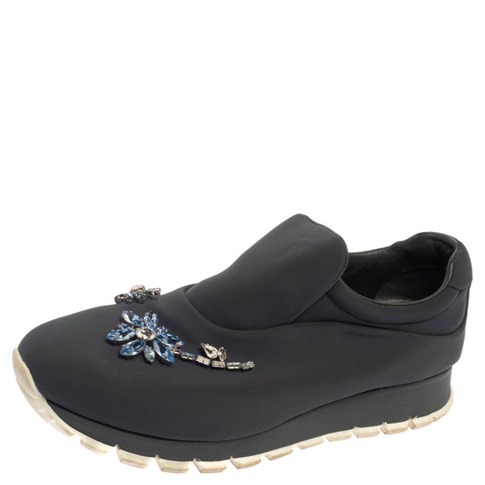 Pre-owned Prada Grey Nylon Crystal Embellished Slip On Sneakers Size 38.5