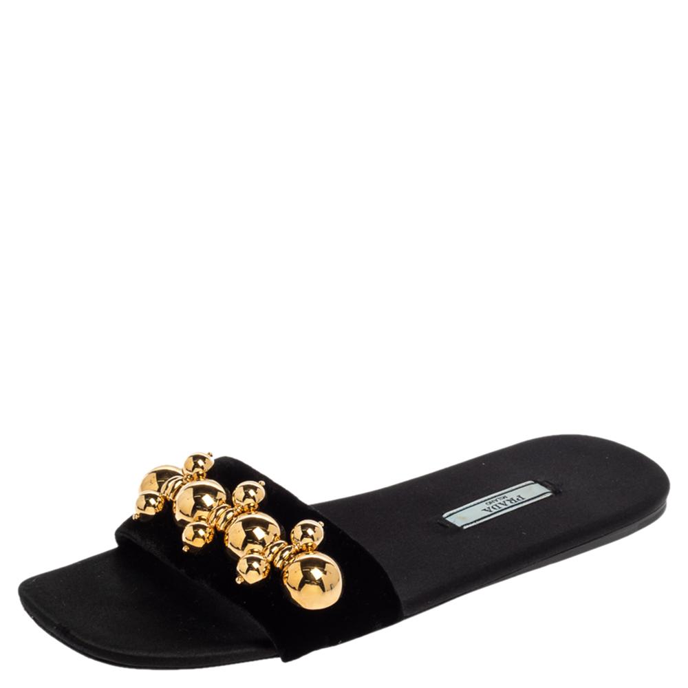 Pre-owned Prada Black Velvet Studded Flat Slides Size 38.5