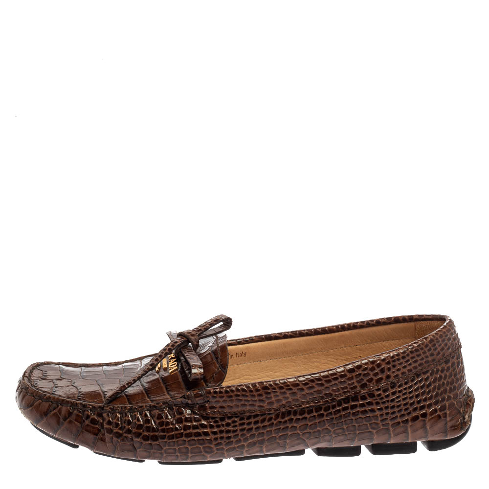 Prada Brown Croc Embossed Leather Loafers Size 38.5  - buy with discount