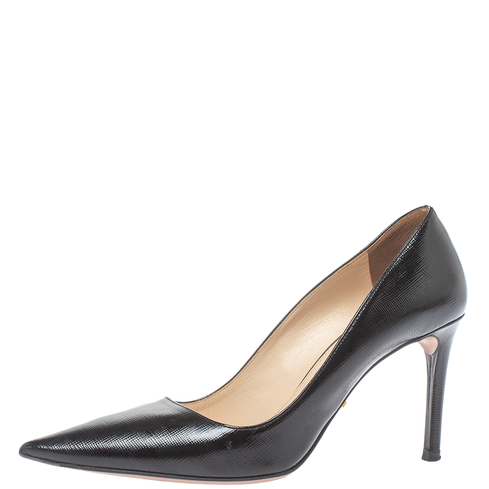 Pre-owned Prada Black Leather Pointed Toe Pumps Size 36