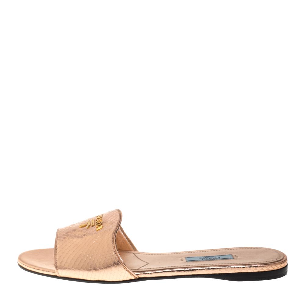 Prada Metallic Rose Gold Python Embossed Leather Flat Slide Sandals Size 39