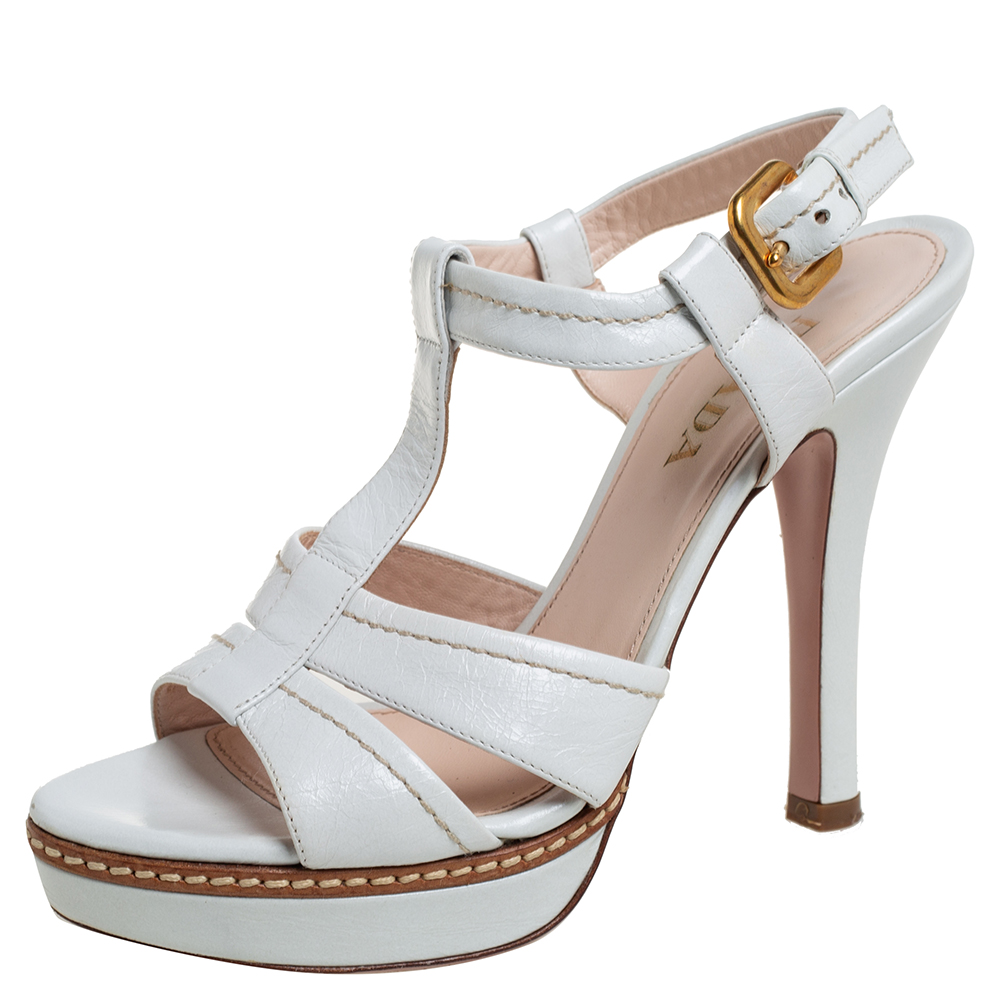 Pre-owned Prada White Leather T Strap Platform Slingback Sandals Size 37
