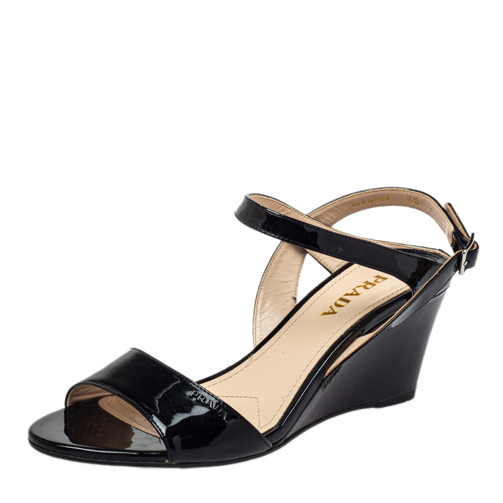 Pre-owned Prada Black Patent Leather Wedge Sandals Size 38