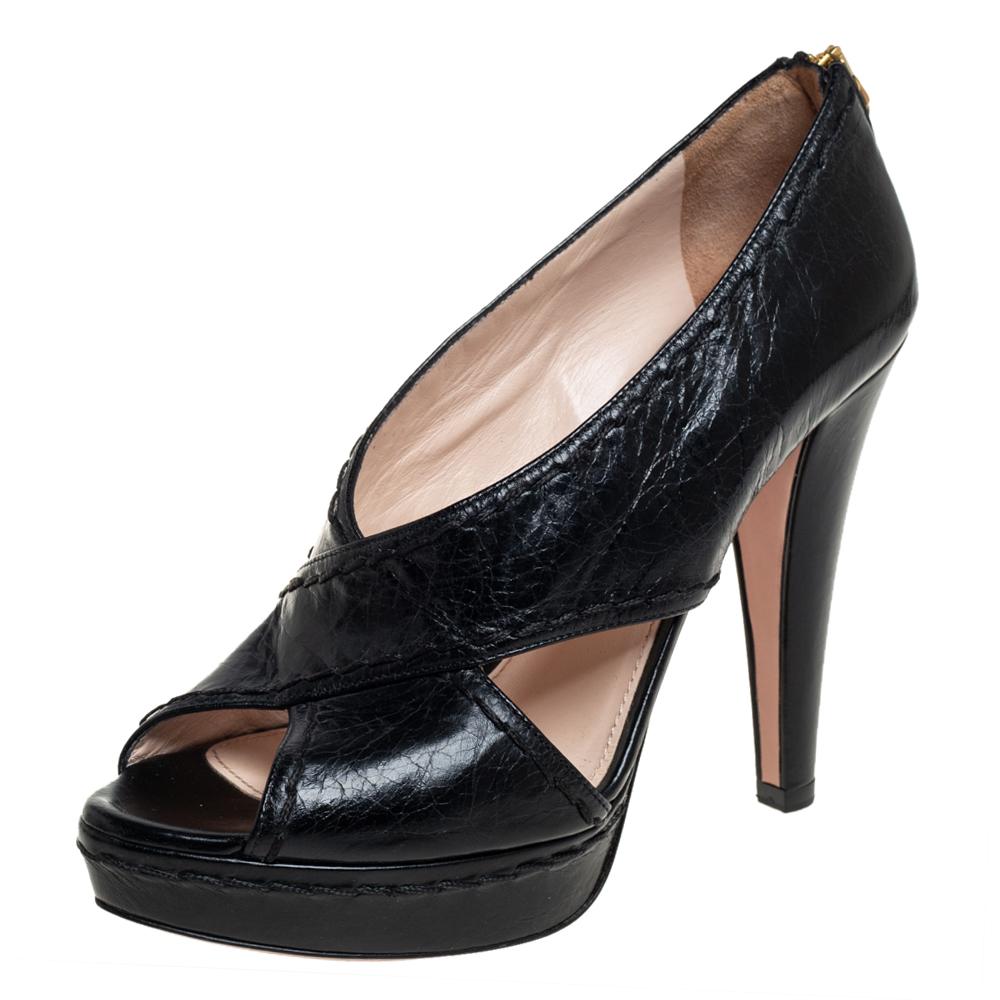 Pre-owned Prada Black Leather Cutout Peep Toe Pumps Size 39