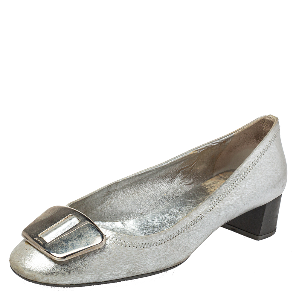 Pre-owned Prada Silver Leather Block Heel Buckle Pumps Size 40
