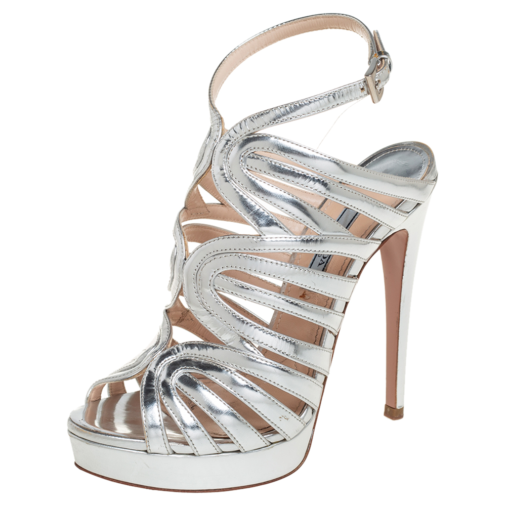 Pre-owned Prada Silver Leather Open Toe Ankle Strap Platform Sandals Size 37.5