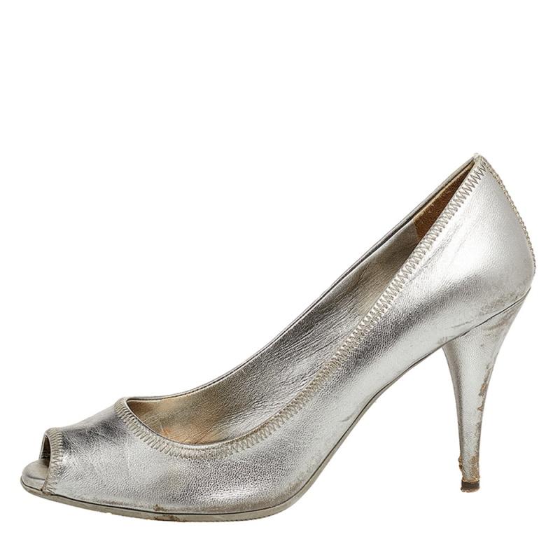 Prada Metallic Grey Leather Peep Toe Pumps Size 37
