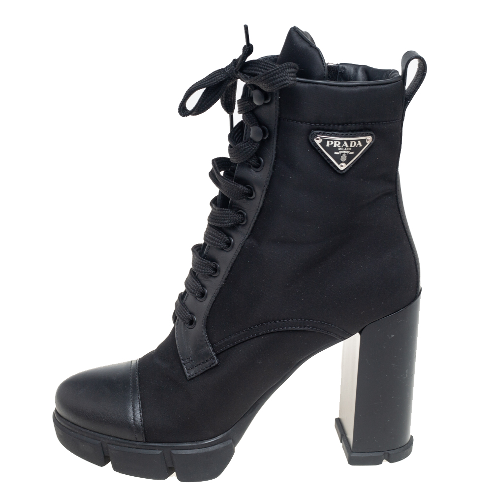 Prada Black Nylon And Leather Lace up Ankle Boots Size 40.5