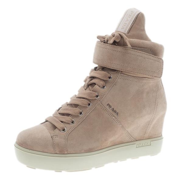 7dd2410ede4a ... Prada Sport Beige Suede High Top Wedge Sneakers Size 35.5. nextprev.  prevnext