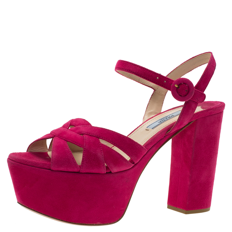 722b4b2723a Buy Prada Pink Suede Block Heel Platform Sandals Size 37.5 79288 at best  price