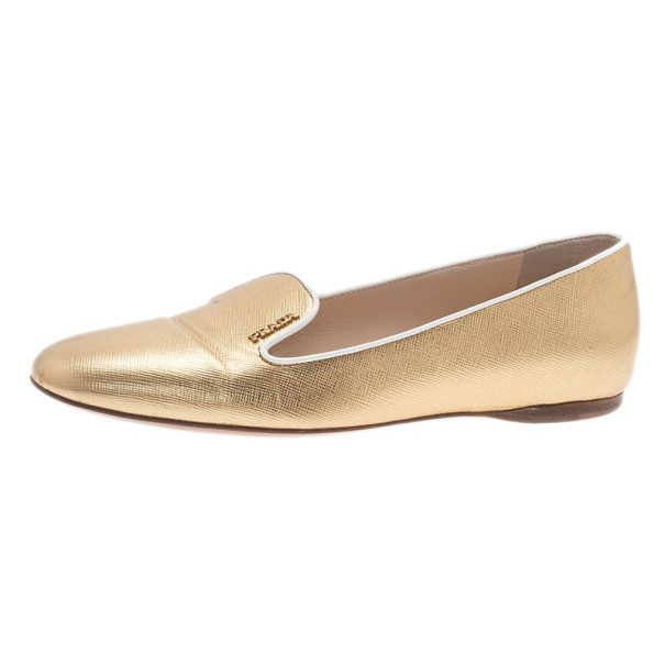 Buy Prada Gold Saffiano Leather Smoking Slippers Size 37 9332 at ... ac084d5902