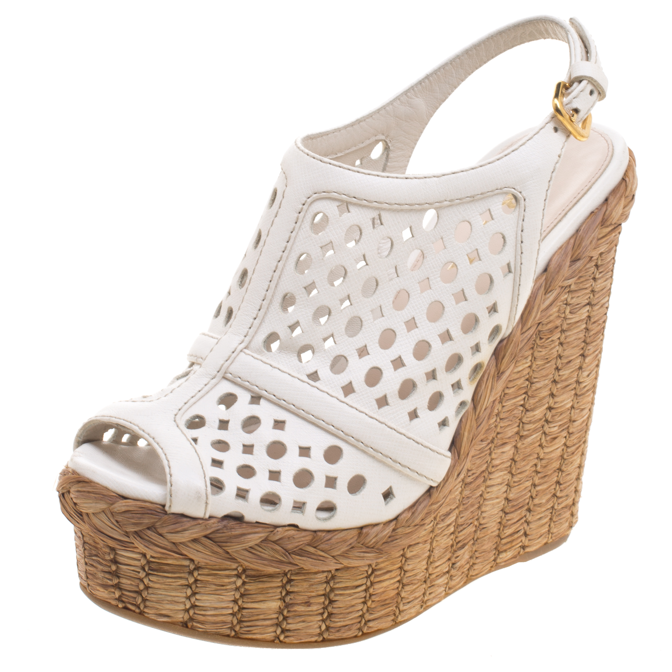 cd517f07893 ... Prada White Cutout Leather Platform Raffia Wedge Sandals Size 36.  nextprev. prevnext