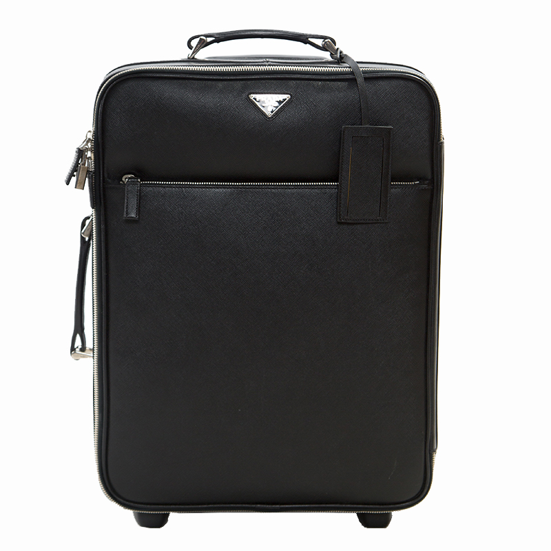 b0d3cec15709 ... Prada Black Saffiano Leather Trolley Rolling Luggage. nextprev. prevnext