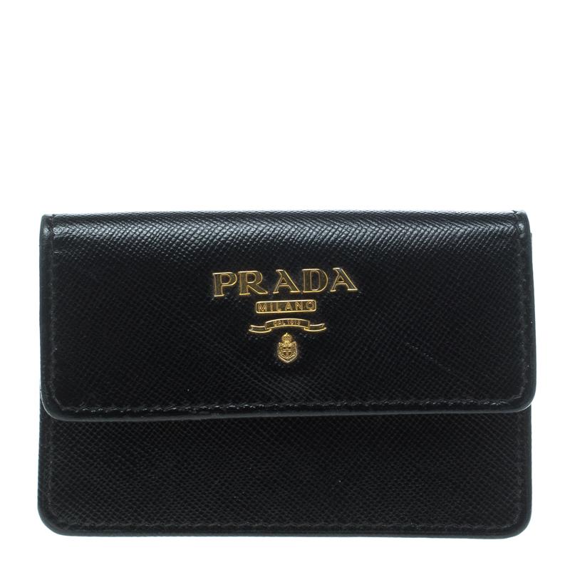 release date: a79e9 f1d24 Prada Black Saffiano Leather Business Card Case