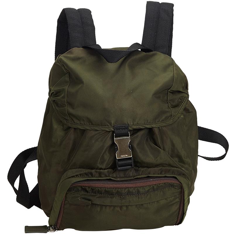 417c8d2d9775 Buy Prada Dark Green Nylon Drawstring Backpack 165970 at best price ...