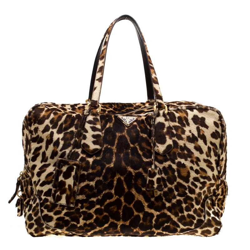 9ffd63d71635 ... Prada Brown Animal Print Calf Hair Weekender Bag. nextprev. prevnext