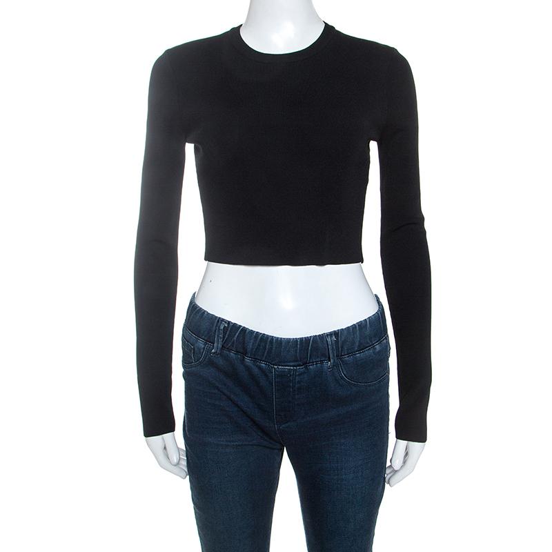 Proenza Schouler Black Knit Cropped Top XS