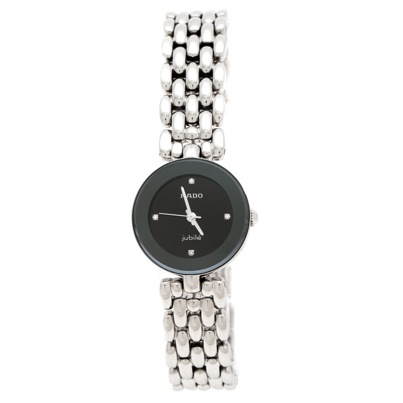 Rado Black Stainless Steel Diamonds Florence R48447723 Women's Wristwatch 23 mm