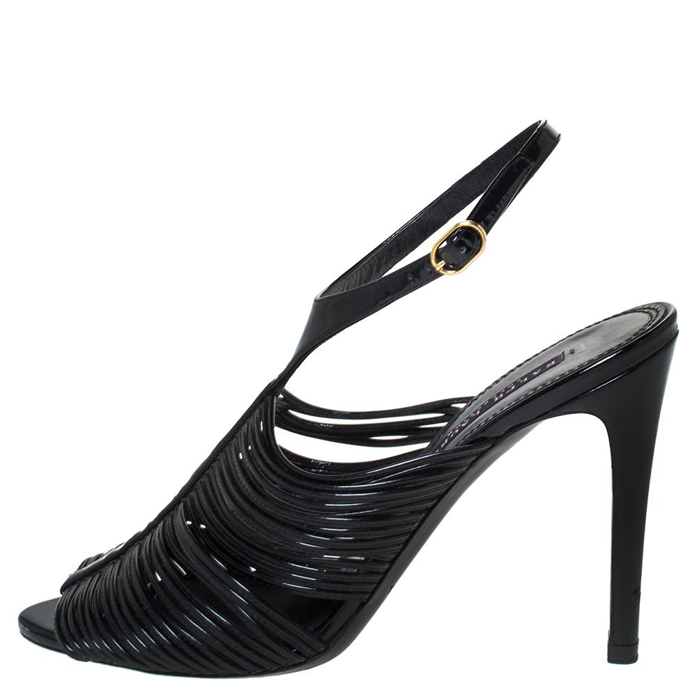 Ralph Lauren Black Patent Leather Ankle Strap Sandals Size 37.5