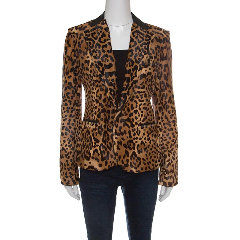 be30d0c0c23dd Buy Ralph Lauren Brown Calf Hair Leopard Print Selma Blazer M 148554 ...