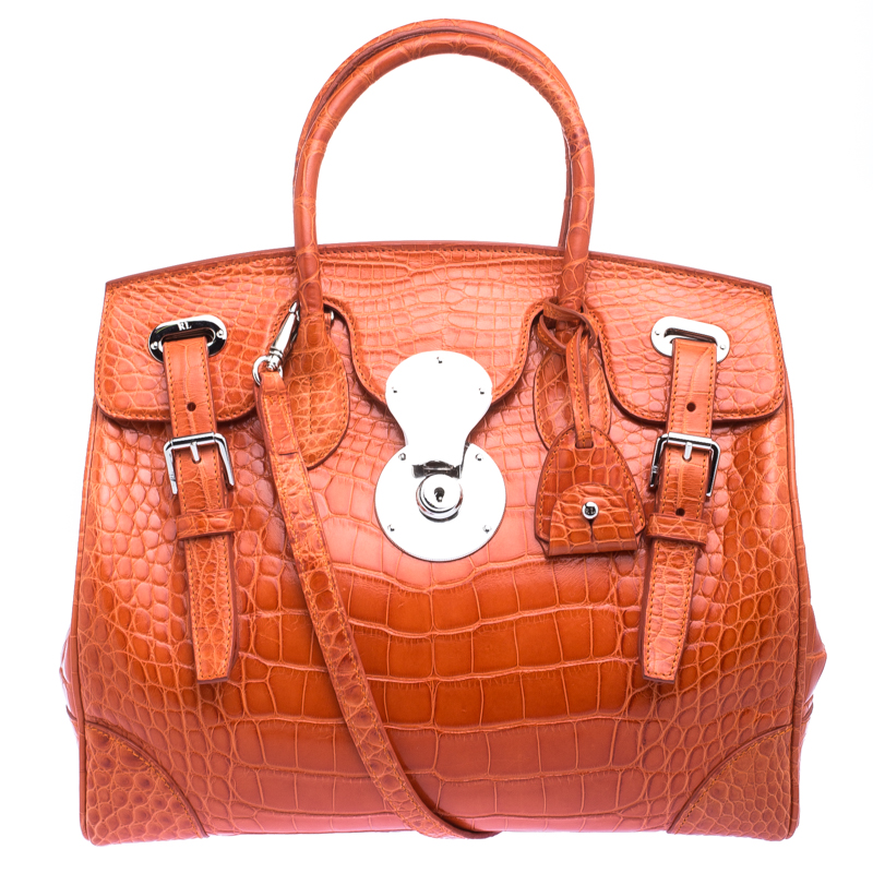 Buy Ralph Lauren Orange Alligator Ricky Top Handle Bag 115888 at ... de0377ada2b88
