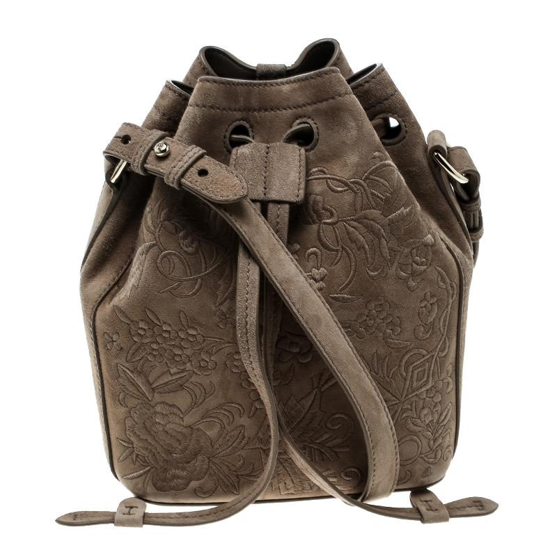 d0ee99d354f1 ... Ralph Lauren Taupe Embroidered Leather Small Drawstring Bucket Bag.  nextprev. prevnext