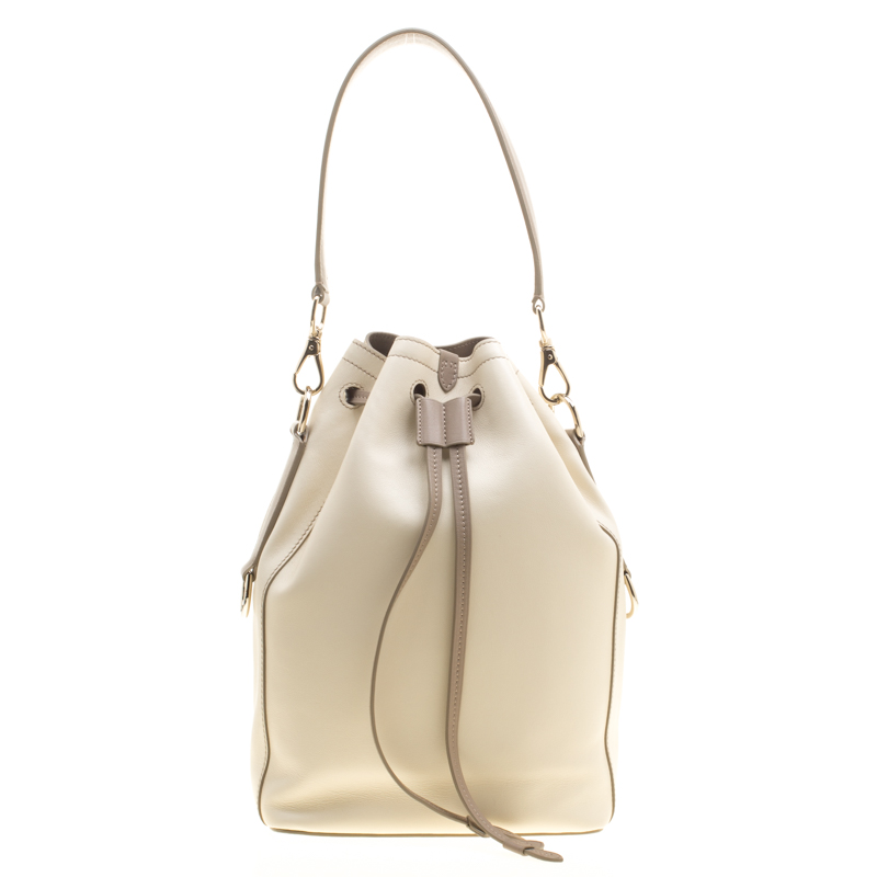Ralph Lauren Off White Taupe Leather Ricky Drawstring Bucket Bag