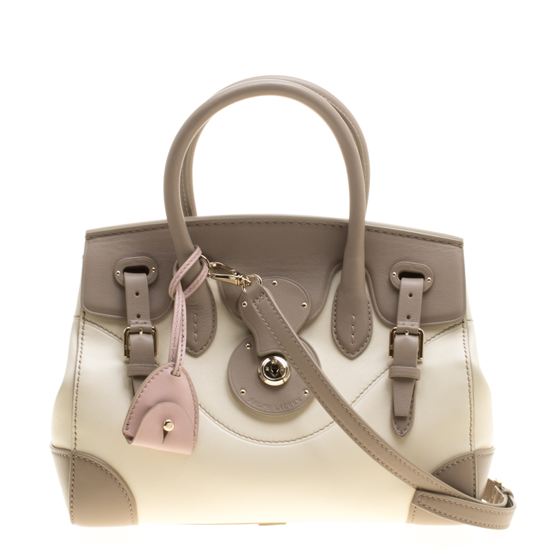 Ralph Lauren Taupe/Off White Leather Ricky Top Handle Bag