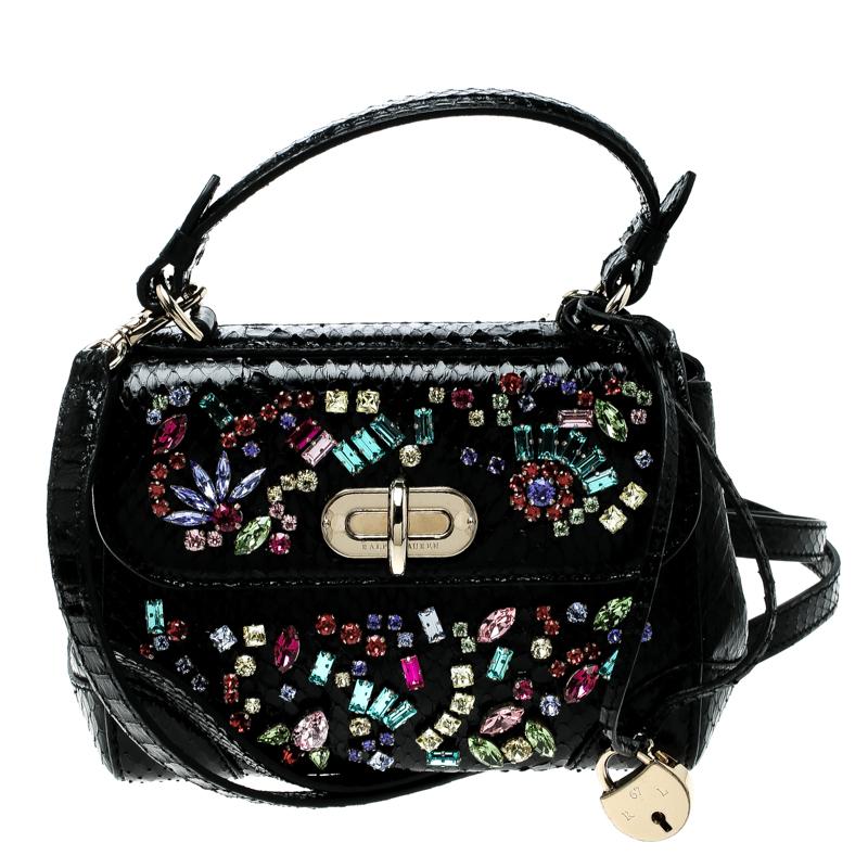 Ralph Lauren Black Leather Mini Tiffin Crystal Embellished Top Handle Bag