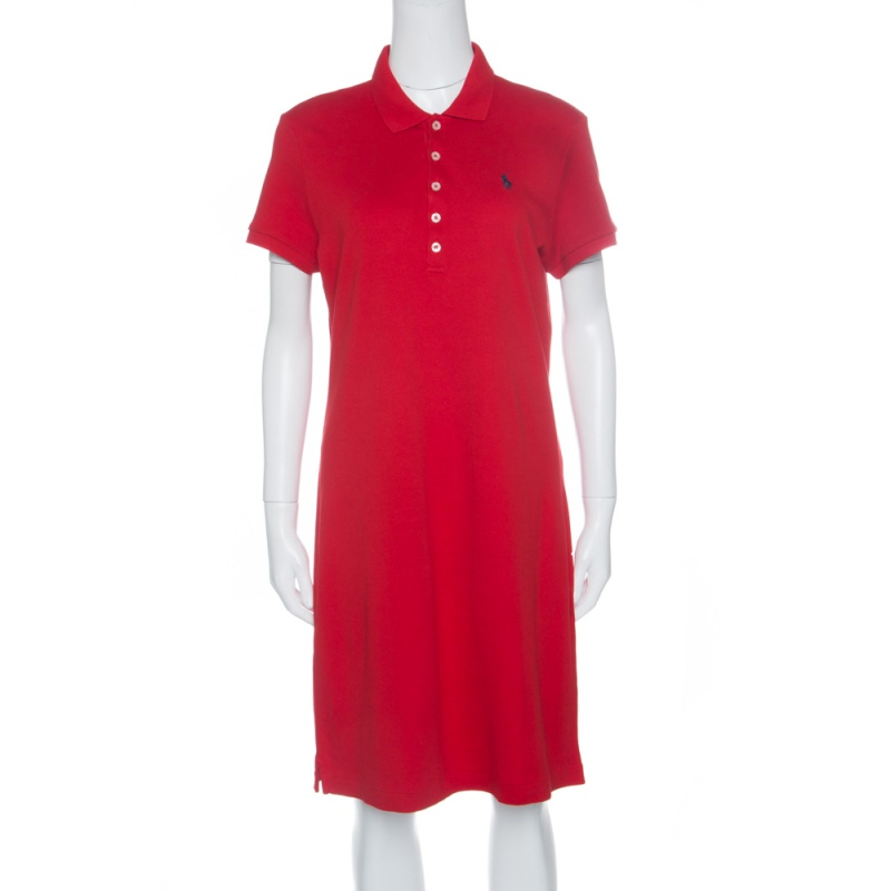 0ded078c12 Ralph Lauren Red Cotton Short Sleeve Polo T-Shirt Dress L